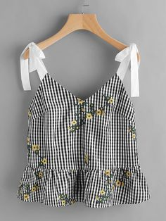 To find out about the Sash Tie Shoulder Blossom Embroidered Ruffle Gingham Top at SHEIN, part of our latest Tank Tops & Camis ready to shop online today! Summer Outfits, Casual Outfits, Cute Outfits, Fashion Outfits, Mode Top, Women's Dresses, Tee Dress, Mode Inspiration, Mode Style