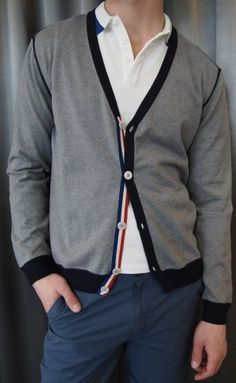 Psycho Bunny grey cardigan $230 from Gotstyle Menswear.
