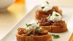 Caramelized onions topped with cheese and served on French bread! Relish a crispy appetizer ready in an hour.