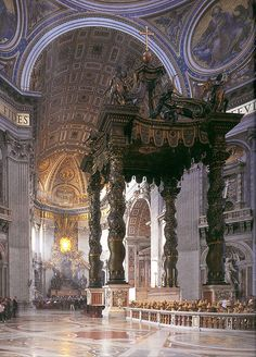 Baldachino, 1923, marks the place of Saint Peter's tomb, in St Peter's Basilica, Vatican. Under its canopy is the High Altar of the basilica. Bronze.