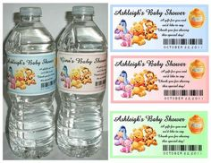 20 Winnie The Pooh Baby Shower Favors Water Bottle Labels Glossy Waterproof | eBay