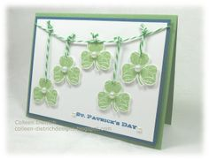 Patrick's Day card: Washing O' The Green . shamrocks hanging on a bakers' twine line . green and white . Homemade Greeting Cards, Homemade Cards, Holiday Fun, Holiday Cards, Valentine Day Cards, Valentines, St Patricks Day Cards, Paper Crafts Magazine, St Patrick's Day Crafts