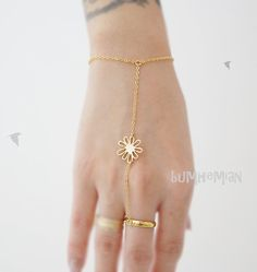 Sun Daisy Anhänger, 16 k vergoldetes, Slave Bracelet