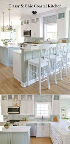 Coastal Kitchen Makeover 2019 This white kitchen with seaside hues by Sand & Sisal provides a lovely backdrop for any hosting occasion. [Featured Design: Torquay] The post Coastal Kitchen Makeover 2019 appeared first on House ideas. Kitchen Ikea, Kitchen Redo, New Kitchen, Kitchen Cabinets, Kitchen Backsplash, Country Kitchen, Kitchen Bars, Corner Cabinets, Colonial Kitchen