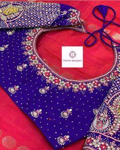 Wedding Saree Blouse Designs, Pattu Saree Blouse Designs, Fancy Blouse Designs, Blouse Neck Designs, Lehenga Designs, Hand Work Blouse Design, Stylish Blouse Design, Kurti Embroidery Design, Hand Embroidery Designs