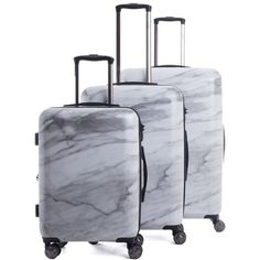 Astyll 3-Piece Luggage Set in Milk Marble NYLON (7,195 MXN) ❤ liked on Polyvore featuring bags and luggage
