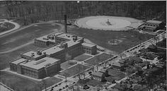 A Birds eye view of Washington park, public swimming pool and bike track 1950's