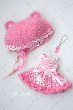 Crochet set for Blythe doll  Pink by ByArtemis on Etsy, $39.00