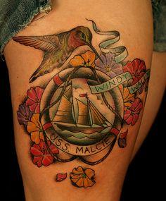 Hummingbird flower and boat thigh tattoo - 55 Amazing Hummingbird Tattoo Designs Flower Tattoo On Side, Flower Thigh Tattoos, Side Tattoos, Cool Tattoos, Segel Tattoo, Sailing Tattoo, Small Hummingbird Tattoo, Quarter Sleeve Tattoos, Tattoo Designs