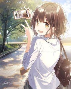 ♡~*ANiME ART*~♡ bishoujo - beautiful anime girl - school uniform - school bag - plaid skirt - short hair - phone - taking photo - blush - smile - cute- moe - kawaii Fan Art Anime, Anime Artwork, Anime Art Girl, Anime Girls, Anime Girl Crying, Anime Girl Short Hair, Anime Chibi, Chica Anime Manga, Manga Kawaii