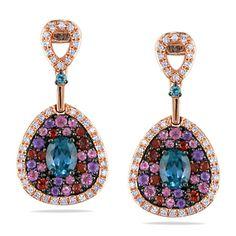 Miadora 14k Rose Gold Multi Gemstone 1 5ct Tdw Diamond Earrings G H