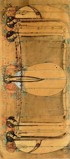 The May Queen by Frances Macdonald (rotated 90°). This is the wall frieze designed for the tea room in Glasgow. Not only did she produce this, she also designed the tables and chairs, the silverware, and the menus