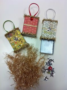 Altered Matchbox Ornaments with goodies tucked inside