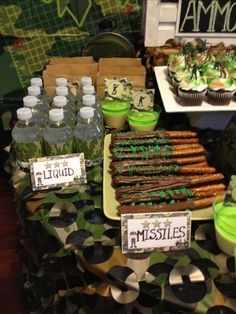 Army Themed Party pertaining to Party - Birthday Ideas Make it Halo Birthday Parties, Army Birthday Parties, Birthday Party Themes, Birthday Ideas, Army Themed Birthday, Army's Birthday, Camouflage Party, Military Camouflage, Paintball Party