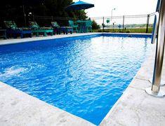See more rectangle and freeform fiberglass pool designs at riverpoolsandspas.com #ingroundpools #fiberglasspools #swimmingpools