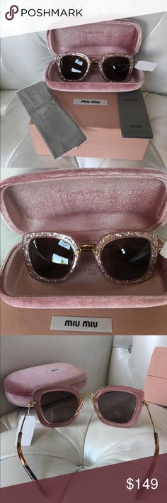 Sold on eBay MIU MIU  SUNGLASSES NWT AUT. SMU 070 AUTHENTIC MIU MIU NEW WITH TAGS SUNGLASSES SMU 070 5226 TKB-6X1 140 2N MADE IN ITALY. Comes with box, case, booklet, wiping cloth. Can post more pic upon request. See the photos as it is part of the description. If you have any questions, I will be happy to respond. I ship on the same day after payment. 🎀🕶 SOLD❌ Miu Miu Accessories Sunglasses