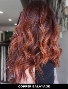 Auburn Hair Balayage, Balayage Long Hair, Balayage Hair Copper, Hair Color Auburn, Hair Color Balayage, Copper Hair, Hair Colour, Ginger Hair Color, Hair Color Techniques