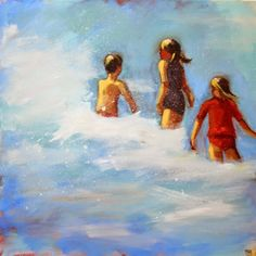 In the Surf - beach painting, Debbie Miller -04151