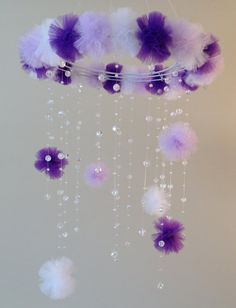 bebé de cristal móvil púrpura bebé móvil pom pom móvil móvil