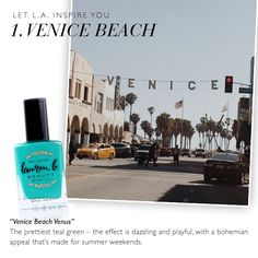 With our famous California weather, I make it a habit to take a bike ride from the Santa Monica Pier to Venice Beach at least a couple times a year. Venice is one of those unique places where youre always experiencing something new which is one of the reasons it inspired our popular Venice Beach Venus polish.