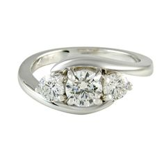 Round brilliant diamond trilogy twist engagement rings from Dublin jewellers Round Cut Diamond Rings, Round Diamond Engagement Rings, Engagement Jewelry, Round Diamonds, Rings N Things, Dream Ring, Ring Designs, Wedding Bands, Jewelery