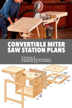 Convertible Miter Saw Station Plans : Convertible Miter Saw Station Plans Woodworking Projects Diy, Diy Wood Projects, Woodworking Shop, Woodworking Plans, Woodworking Techniques, Welding Projects, Mitre Saw Station, Table Saw Station, Miter Saw Table