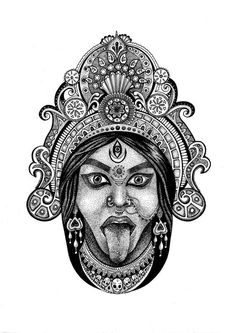 Kali Tattoo, Shiva Tattoo Design, Indian Art Gallery, Line Art, Kali Ma, Lord Ganesha Paintings, God Tattoos, Goddess Tattoo, Kali Goddess