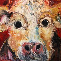 Deborah Donnelly-Red Cow with Flowers Oil Painting Texture, Painting Art, Pink Cow, Cupcake Images, Street Gallery, Vivid Imagery, Farm Yard, Brush Strokes, Design Crafts