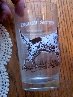 English Setter Pointer Dog Drinking Glass 1950 by LeftoverStuff
