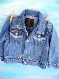 Denim Jacket Upscaled Toddler Painted One to by mailordervintage, $36.26