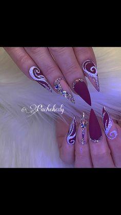 Stunning with matte finish bling nails, nails, glam nails, fancy nails, Diva Nails, Glam Nails, Fancy Nails, Bling Nails, Beauty Nails, Cute Nails, 3d Nails, Nail Swag, Stylish Nails