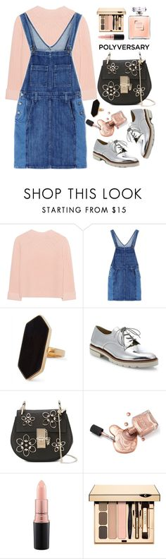 """""""Polyversary"""" by thestyleartisan ❤ liked on Polyvore featuring iHeart, Current/Elliott, Jaeger, Stuart Weitzman, Chloé, MAC Cosmetics, polyversary and 10th"""