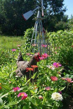 Hen In Flower Garden