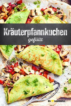 Gefüllte Kräuterpfannkuchen Panqueques con hierbas, rellenos con una mezcla de queso feta y vegetales Veggie Recipes, Seafood Recipes, Vegetarian Recipes, Chicken Recipes, Dinner Recipes, Healthy Recipes, Meals For Two, Relleno, Food Inspiration