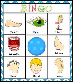 Body Parts Center Bingo- Can be used as a body part matching game with young students or a cooperative bingo game for vocabulary development with older students. This and many more activities are a part of my comprehensive MY BODY unit for Kindergarten s All About Me Preschool Theme, All About Me Activities, Activities For Kids, Body Preschool, Preschool Classroom, Kindergarten, Body Parts Theme, Human Body Activities, Body Parts Preschool Activities