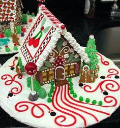 gingerbread house.. Love the little lollipop for a light outside the house :)