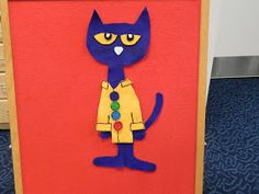 I have had a giant piece of blue felt sitting on my desk for the longest time. This week I decided that it would make the perfect Pete the C...