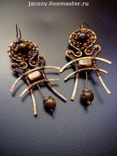 Купить Медные серьги Наскальные РиСуНкИ - медь, серьги, медные укршения, тигровый глаз, коричневый