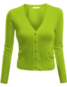Womens Long Sleeve V-Neck Cardigan Button Front Crop Cardigan (S - 3XL)