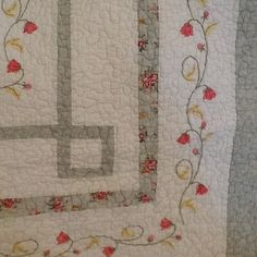 Quilted Reversible Throw Embroidery Floral Cottage Chic Shabby Victorian Rose