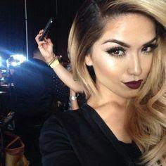 bridesmaid makeup with dark lips - Google Search