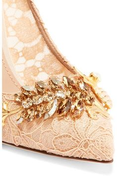 Dolce & Gabbana - Embellished Corded Lace Pumps - Blush - IT