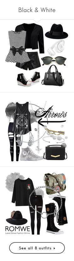 """Black & White"" by rachella-xoxo ❤ liked on Polyvore featuring Mason by Michelle Mason, Boohoo, WearAll, Beats by Dr. Dre, Gucci, Ray-Ban, WithChic, EF Collection, Danielle Stevens and Converse"