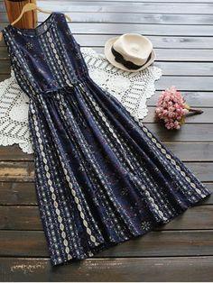 $18.99 Flower Drawstring Waist Sleeveless Linen Dress - CERULEAN ONE SIZE