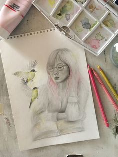 #Woman #reading #birds #book #pencil #watercolor #drawing #art #illustration Watercolor Drawing, Drawing Art, Woman Reading, The Dreamers, Pencil, Birds, Drawings, Illustration, Illustrations