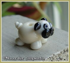 Pug Puppy Dog Lampwork Bead. $10.00, via Etsy...