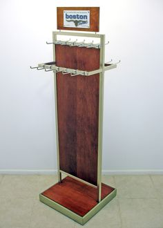 2 Tier 2 Sided Chrome/Wood Belt Fixture for Boston Belts | POP | POSM | Custom Point-of-Purchase display made by www.sharndisplays.com