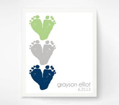 Baby Footprint Art Personalized Baby Name by PitterPatterPrint