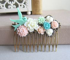 Wedding Hair Comb Bridesmaid Gift Mint Green Pink Turquoise Blue Pastel Colors Pink Blush Flower Floral Bird Nature Bridal Hair Accessories