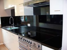 Black Glass Splashbacks kitchen in london